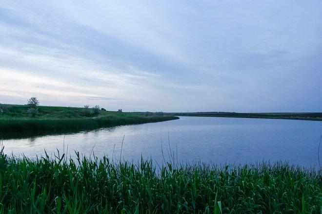 Pond near the village of Pokrovka of the Dneprovsky region in Ukraine.